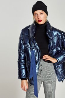 Стеганая куртка металлик