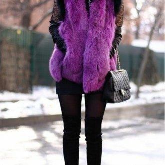 Цветной меховой жилет