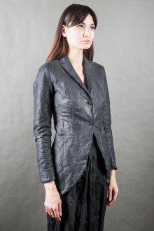 Кожаный пиджак серый