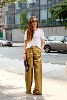 Женские широкие брюки золотые