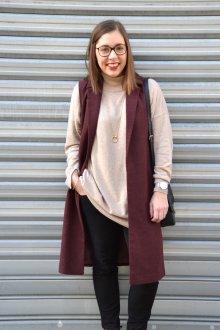 Бордовый удлиненный пиджак