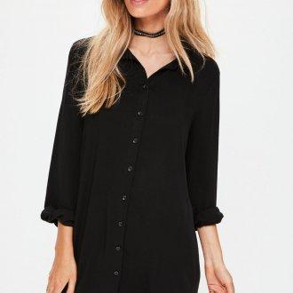 Длинная черная рубашка женская
