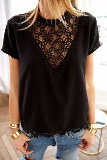 Черная кружевная рубашка