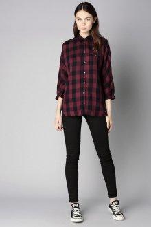 Черная рубашка женская с рукавом три четверти