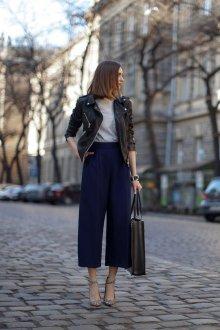 Синие брюки кюлоты