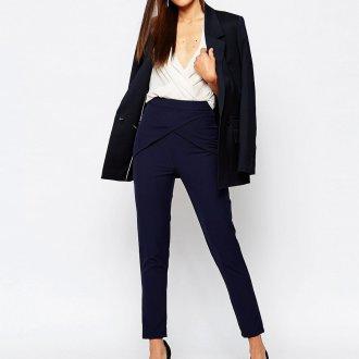 Синие брюки с высокой талией