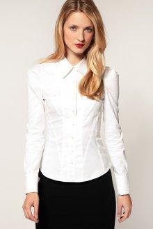 Женская белая рубашка приталенная