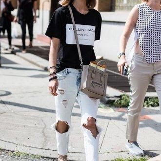 Белые джинсы с дырками