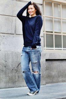 Широкие джинсы с дырками
