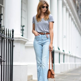 Голубые джинсы клеш