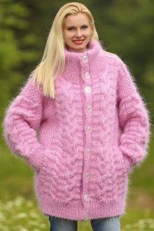 Кардиган из мохера розовый