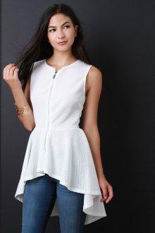 Асимметричная блузка с баской