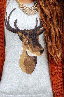 Голова оленя на свитере