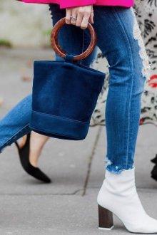Голубые джинсы зауженные