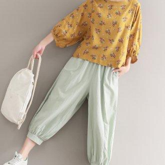 Цветочная желтая блузка
