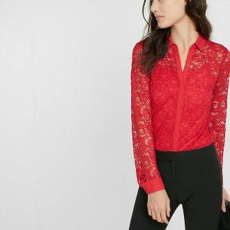 Кружевная красная блузка