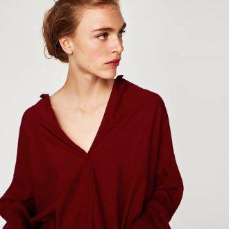 Красная блузка оверсайз