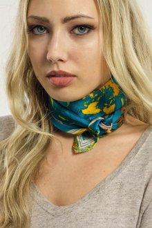 Шелковый шарф бирюзовый