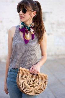Шелковый шарф фиолетовый