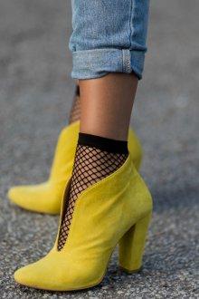 4dc80122c3e5 Желтые Ботинки Женские из Нубука Или Замши, Высокая Шнурованная ...