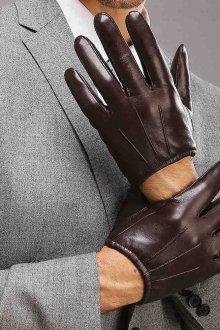 Коричневые мужские перчатки