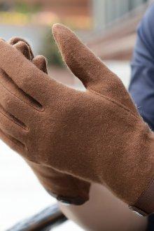 Мужские перчатки с кожаной отделкой