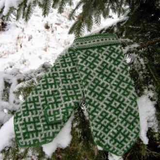 Мужские зеленые варежки