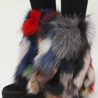 Ботинки с мехом разноцветным