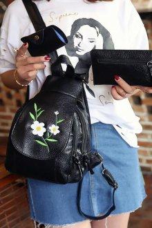 Черный рюкзак с вышивкой