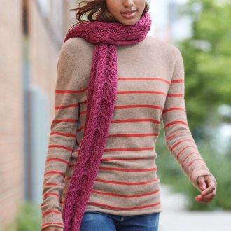 Вязаный шарф малиновый