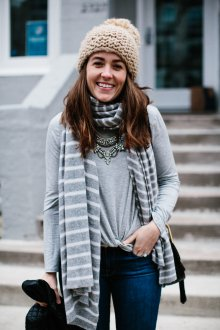 Вязаный шарф в полоску