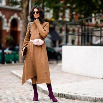 Розовый кожаный ремень с сумочкой
