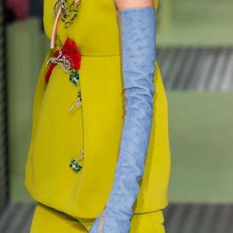 Кожаные перчатки длинные