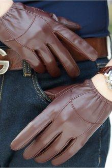 Кожаные перчатки коричневые