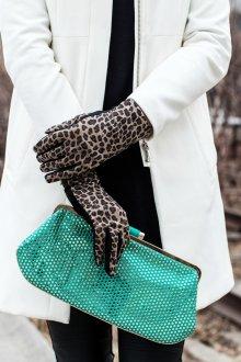 Кожаные перчатки леопардовые