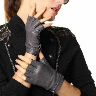 Кожаные перчатки серые