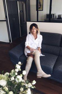 Белые ботфорты без каблука
