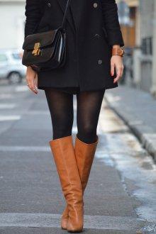 Ботфорты без каблука коричневые
