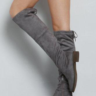 Ботфорты без каблука серые