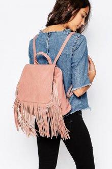 Розовый рюкзак с бахромойм