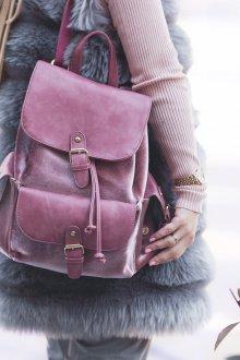 Розовый рюкзак бархатный