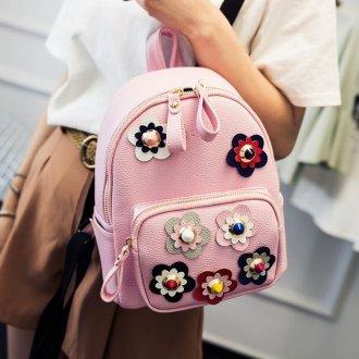 Розовый рюкзак цветочный