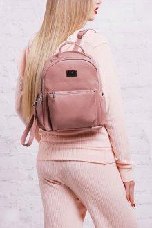 Розовый рюкзак кожаный
