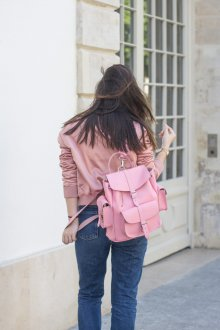 Розовый рюкзак из натуральной кожи
