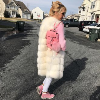 Розовый рюкзак с пряжкой