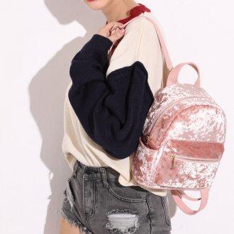 Розовый рюкзак велюровый