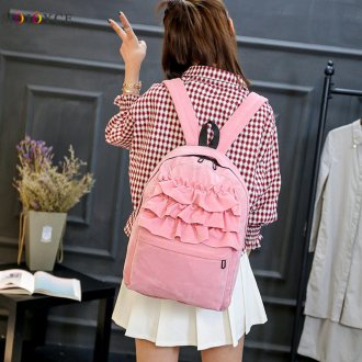 Розовый рюкзак с воланами