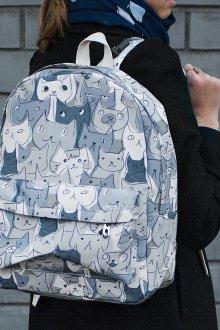 Серый рюкзак с котами
