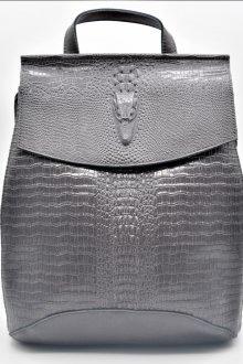 Серый рюкзак из крокодиловой кожи