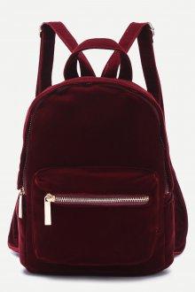 Красный рюкзак бархатный